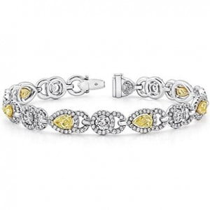 Alternating Fancy Yellow Diamond and Whie Diamond Bracelet