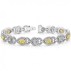 Alternating Fancy Yellow Diamond and Whie Diamond Bracelet