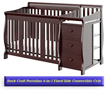 Stork Craft Portofino 4-in-1 Fixed Side Convertible Crib and Changer